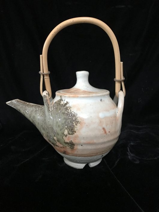 Teapot - Shino glaze with eucalyptus ash, cane handle