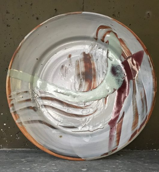 Platter - Shino glaze on Red clay body with decoration