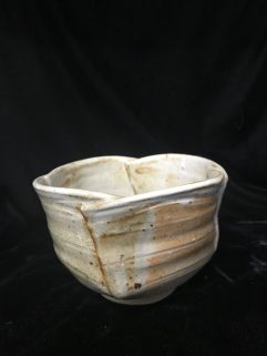 Bowl - 4 cuts and joined with Shino glaze
