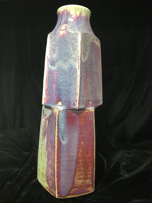 Form - Pentagonal shaped, copper red glaze