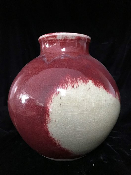 Vase - Copper red blossom jar with oxidation