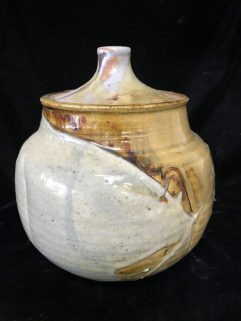 Jar - with alumna matt glaze over iron glaze